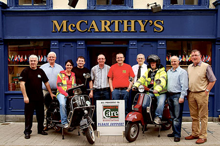 Photographed at the launch of the Great Malin to Mizen Vespa Run at McCarthy's Bar, Castlebar, are (l-r): Tom Kavanagh, Joe Brett, (fundraising manager, Western Care Association), Maria Kelly, Patsy McHale, Pat Tierney, Ian Mc Dyer, Michael Baines, Ian Higgins, Blackie Gavin, and John Laughnane. Photograph: John Moylette