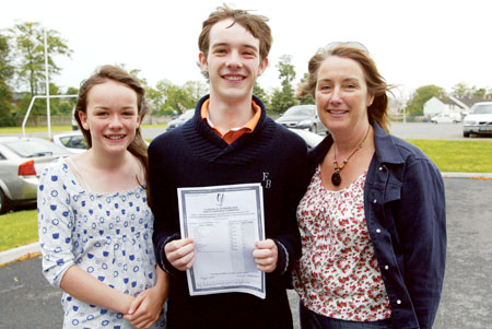 Cian Lemass with his sister Claire and mum Helen after receiving his Leaving Cert results at St Aloysius College, Athlone on Wednesday morning. Photo: molloyphotography