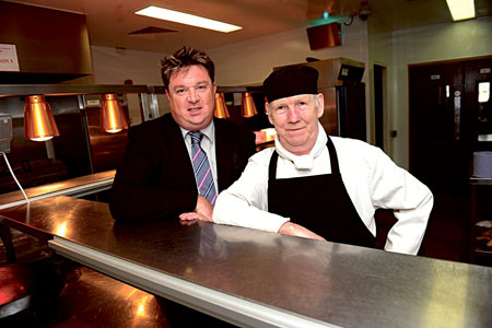 Shay Livingstone, general manager, Carlton Hotel, and chef Pat Lynn who is retiring after forty three years working at the hotel. Photo: Boyd Challenger
