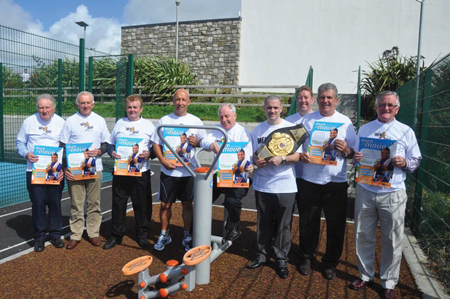 Pictured at Páirc Bheo, Belmullet, for the launch of Men on the Move Erris were L-R: Michael Carolan, Seamus Cafferkey, Bertie Heffron, Charlie Lambert, Minister Michael Ring, Henry Coyle, Padraig Brogan, Mick Ruddy and Chris Tallott.