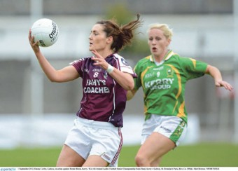 Galway's Emma Curley in possession against Bernie Breen of Kerry in the TG4 All-Ireland Ladies Football Senior Championship semi-final at St Brendan's Park, Birr, on Saturday.