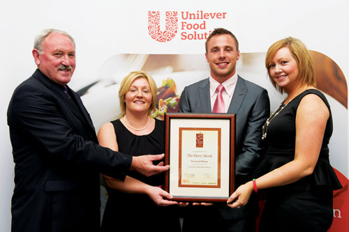 Pictured at the Great Carvery of the Year Grand Final 2012 are (L-R) Joe and Jillian Lavelle, The Merry Monk; Great Carvery of the Year competition ambassador Tommy Bowe; and Lorraine Williams, The Merry Monk.