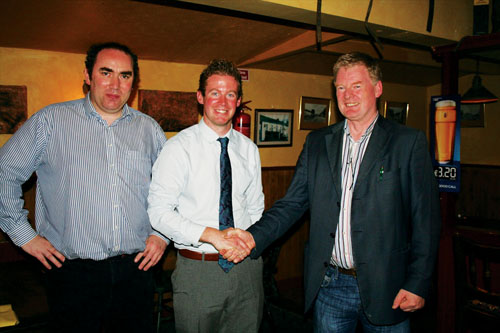 Lorcan Allen (centre) accepts the endorsement of Fine Gael's Moate branch as a candidate for co-option onto Westmeath County Council in the wake of Joe Whelan's recent resignation. Also pictured is Bill Coghlan (left), branch secretary, and son of the late Cllr Pauline Coghlan, and James Glynn, chairman.