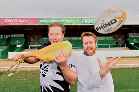 Michael Swift and chef JP McMahon at the launch of the Connacht Rugby Corporate hospitality packages. Photo:-Mike Shaughnessy
