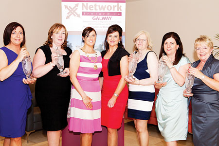 Network Galway Business Woman of the Year Awards - Winners l to r: New Business Award, Bernie Dempsey, BD Recruitment; Employee Award, Geraldine Curran, Capones Restaurant; Lorraine Scully, president, Network Galway; Eimear Ni Chonaola, Nuacht TG4/RTE; Self Employed Award, Mary Creavan Ludden, Cregal Art; Outstanding Business Woman of the Year, Patricia McCrossan, Goldenegg Productions; and President's Award, Carmel Brennan, HC Financial, pictured at the Network Galway Business Women of the Year Awards 2012. Photo Martina Regan