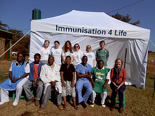 Immunisation 4 Life volunteers with NERI Clinic's staff in Zambia in June 2012. Back row from left: Maeve Gacquin, senior dietician, Galway Clinic; Stephanie Coen, midwife, Galway University Hospitals; Maura Moran, PHN, Galway; Katherine Farrell, PHN, Galway; Hilary Lane, PHN, Cork; and Dr Kevin Connolly, consultant paediatrician. Front row NERI Clinic's staff, from left: Sr Barbara Banda, Gift Mwale,  Mr Tenford Banda, Harriet Chongo, Philip Mubanga, Sr Gienala Kaluba and Sarah Franklin.