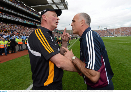 All in a day's work:  Kilkenny manager Brian Cody and Galway's Anthony Cunningham on the sidelines three weeks ago.