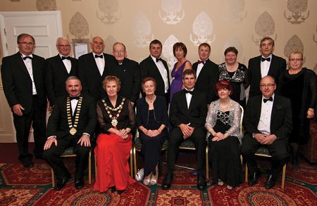 Attending the Galway People of the Year Awards night in the Galway Bay Hotel on Friday (seated l-r) Mayor of Galway Thomas Welby, Mayor of Galway City Terry O'Flaherty, Betty O' Flaherty, Liam Cullinane, Della Dolan and Michael Kearney. (Standing l-r) Kevin Clancy of Rehab, Gerald and Billy Lawless, Fr Sean Kilcoyne, Anthony Killarney, Marie Cahill, John Concannon, Marie Arrigan Langan, Charles Lynch and Olga Farrell. Photo:-Mike Shaughnessy