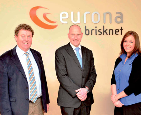 Cllr Dominick Connolly; Craig Bluff, managing director Eurona Brisknet; and Tanya Hand, office manager