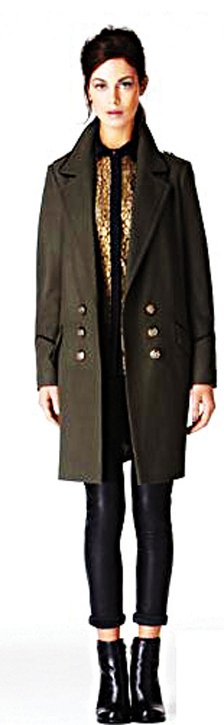 Military coat available at Oasis.