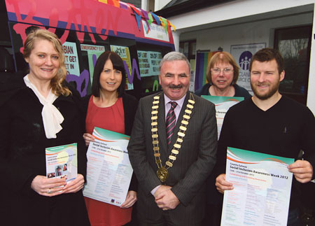 Pictured at the launch of Social Inclusion week were (l-r) Bernie Donnellan and Valerie Kavanagh Social Inclusion Unit, Galway County Council, Mayor of County Galway Thomas Welby with Anne O'Shaughnessy and Barry Dillon of Glann Family Resource Centre. Photo:- Mike Shaughnessy
