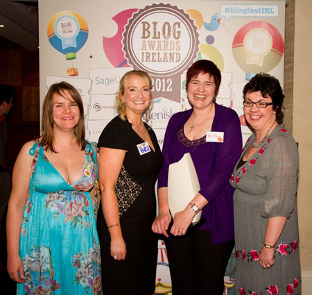 Galway woman scoops top award at Blog Awards Ireland. Pictured l-r Awards organisers Amanda Webb (Spiderworking), Beatrice Whelan (Stage Enterprise), Móna Wise and Lorna Sixsmith (Garendenny Lane).