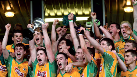 Corofin celebrate winning the Galway minor championship on Sunday. Photo:- Mike Shaughnessy