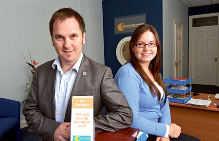 Eoin McGreal with Nora Ann Ní Chonghaile of TaxAssist Accountants.  Photo:-Mike Shaughnessy