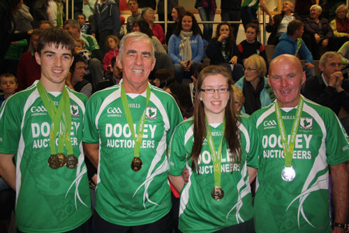 Martin Mulkerrins, Morgan Darcy,  Roisin Ni Chonghaile and Nicky-John Clancy of Moycullen Handball celebrate their World Championship success.
