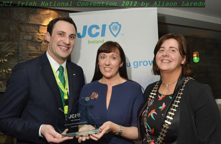 Lynda Foley, general manager, Harlequin Hotel, Castlebar, accepting the national JCI Friendly Business Award in the eco friendly category from Derek Reilly, JCI Mayo president, and Michelle Daly Hayes, JCI national president. Photo: Alison Laredo.