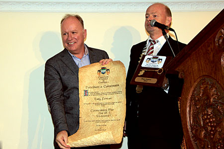Broadcaster Tony Fenton receives the Freedom of Connemara from Brian Hughes of the Connemara Chamber of Commerce.