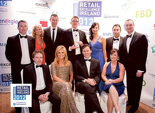 Pictured at the ceremony were at back Peter Cloonan, Fiona Fahy, George Osborne, Liam Coady, Amanda Gibbons, Nathan Nahar of  Nestors SuperValu; and Keith Rogers - chairman REI. Front: Peter Sweeney - business manager Barclay Card, Karen Koster, Anton Savage, Jo Collins, group sales manager Independent Newspapers.