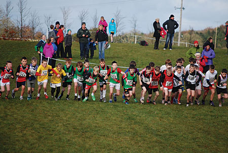 Pushing for positions: The starting line of the boys event in the Western Regions Cross Country Championship in Ballina.