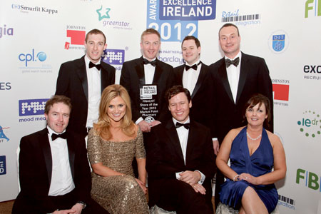 Pictured at the Retail Excellence Ireland Awards 2012 are (back l-r): Robert Keane MPSI, manager, Green Road Pharmacy; John Keane MPSI, manager Market Point Pharmacy; Ronan Sheridan MPSI, pharmacist Green Road Pharmacy; Keith Rogers, chairman, Retail Excellence Ireland. Front (l-r): Peter Sweeney, senior international business manager, Barclaycard; Karen Koster; Anton Savage; and Jo Collins, group sales manager, Independent News and Media. The awards were presented on Saturday November 3 by President of Ireland, Michael D. Higgins at a gala event held at the Radisson Blu Hotel, Galway. Hosted by TV and radio personalities Karen Koster and Anton Savage, the awards were attended by more than 500 representatives of the retail industry in Ireland.