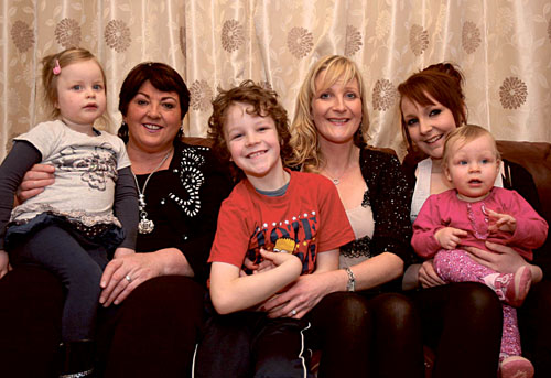 Una McDonagh, director of Supermac's pictured with Collette Mantane from Loughrea,  with her children Grace (6) , Gavin (8), Katie-Mae (14) months and Chloe (16) years, the winners of the Bring Them Home for Christmas Campaign by Supermac's.  This week RTE 2fm's Ryan Tubridy surprised Collette with the news live on air that her husband Patrick will be flown from Australia by Supermac's for Christmas. Picture: Hany Marzouk