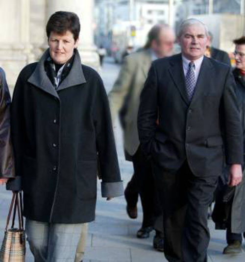 Margaret Lavelle and Patrick (Patsi) Nevin, sister and brother of murder victim Tom Nevin, pictured leaving court during the trial of Catherine Nevin some years ago.