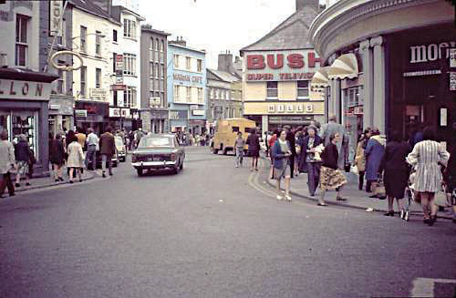 Changing times: Cars passing Moons (on the right) now, of course Brown Thomas, heading into William Street/Shop Street in the 1970s. The street was pedestrianised in the late 1990s, with much weeping and wailing by local traders.
