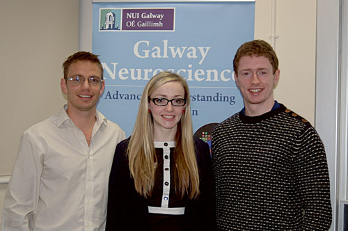 Pictured at the annual research meeting of the Galway Neuroscience Cluster from left to right are: Ben Newland (Best Oral Presentation Prize recipient, Network of Excellence for Functional Biomaterials, NUI Galway), Nikita Burke (runner-up Oral Presentation Prize, Physiology and Centre for Pain Research, NUI Galway) and Jason Ridge (Best Poster Presentation Prize, Anatomy and Psychiatry, NUI Galway).