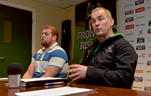 Connacht head coach Eric Elwood, alongside Brett Wilkinson, speaking to the media during a press conference ahead of their side's Celtic League, Round 11, match against Munster on Saturday. Photo: Diarmuid Greene / SPORTSFILE