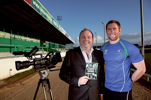 Connacht Rugby captain Gavin Duffy with Kieran Hartigan of IRIS Productions. Photo: Brian Harding.