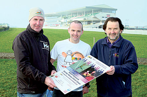 Mike Nolan of Astro Bay, Philip Cribbin, Preda Galway, and Paddy Curley of Carambola Kidz at the launch of  the PREDA 5k 'Run For Freedom' 2013 which will take place at  Ballybrit Racecourse on Saturday February 23 at 12 noon. Online registration on www.runireland.com Photo:-Mike Shaughnessy
