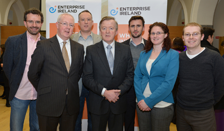 Pictured L to R: Vincent O'Flaherty, Westway Health; Barry Egan, Enterprise Ireland Director West Region; Seamus Lally, Claremorris; John Perry TD, Minister for Small Business; Robert Hanley, English Bubble; Alma Curley, CGA Software and Paul McCoy, Westway Health.