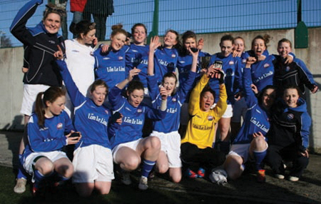 Champions Cheer: The girls from St Brendan's College, Belmullet, celebrate winning the All Ireland cup final on Wednesday.