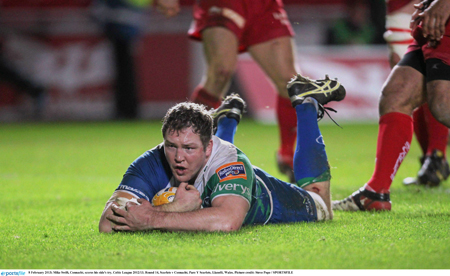 Mike Swift, Connacht, pictured going over against Scarlets last weekend. Steve Pope / SPORTSFILE