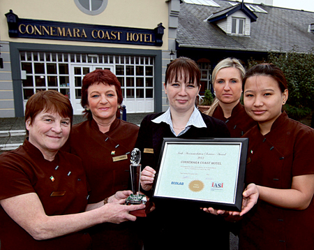 The Connemara Coast Hotel accommodation team (l-r) Ann O'Connor, Teresa Faherty, accommodation manager Monika Chwastek, Agnieszka Mikstacka, and Sheila Gurung  with their IASI awards. Photo:- Mike Shaughnessy