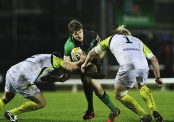 Connacht's Kylle Tonetti,in action against the Ospreys, is a doubt for tomorrow evening's RaboDirect Pro 12 match with Cardiff.  					Photo: Mike Shaughnessy.