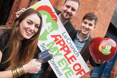 Judges Roisin O, KC, and Paul Walsh from Royseven at the launch of the Le Crunch Apple of My Eye song contest at Today FM.