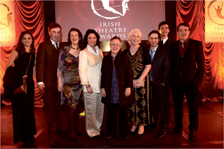 The Druid Theatre Company team — winners of best production for Druid Murphy, at The Irish Times Irish Theatre Awards, in the Royal Hospital Kilmainham, Dublin, last Sunday night.