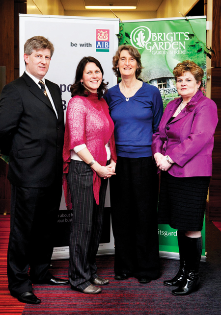 Photograph attached shows (left to right) Sean Cannon (AIB University Branch, Galway), Claire Casby (Brigit's Garden), Jenny Beale (Brigit's Garden) and Carmel Burke (AIB University Branch, Galway), at the Showcase for SFA Finalists in Dublin.