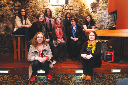 The cast of Eclipsed: (L to R) Laura Crosby, Helen Gregg, Sarah O'Toole, Andrea Kelly, Jean Oldham, Liz Quinn, Órla McGovern, Fiona Kelly, and Lynelle Colleran. Photo:- Mike Shaughnessy