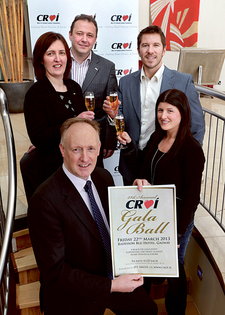 At the announcement of  this year's 28th Annual Croí Gala Ball, which will take place on Friday, March 22, are (left to right): Neil Johnson, Croí, together with Emma Nevin and Michéal Stapleton, Radisson Blu Hotel, Galway, with Barry McCann and Karen Maloney, Croí.  Tickets for the event are available from www.croi.ie
