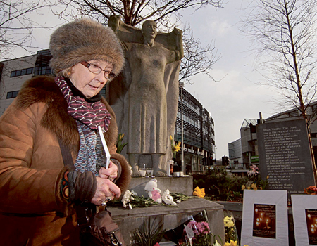 Author Patrica Burke Brogan attending Sunday's gathering at The Magdalene Women Memorial, Forster Street.		                  Photo:-Mike Shaughnessy