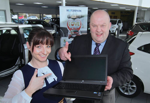 Claire Conroy and Gerry O'Halloran general manager of Mororpark at the launch of the Motorpark Facebook promotion. Photo:-Mike Shaughnessy