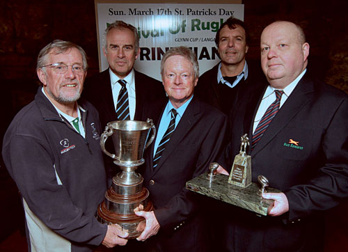Attending the Glynn Cup/Langan Trophy Festival of Rugby which will be hosted by Corinthians RFC on St Patrick's Day were, front row l-r,  Mick Roche, Connacht Referees Association; Adrian Glynn and Vivian Langan.  Back row,  Colm O'Donnellan  Galwegians RFC president and Phil Pretorius, Corinthians RFC coach.  					Photo:-Mike Shaughnessy