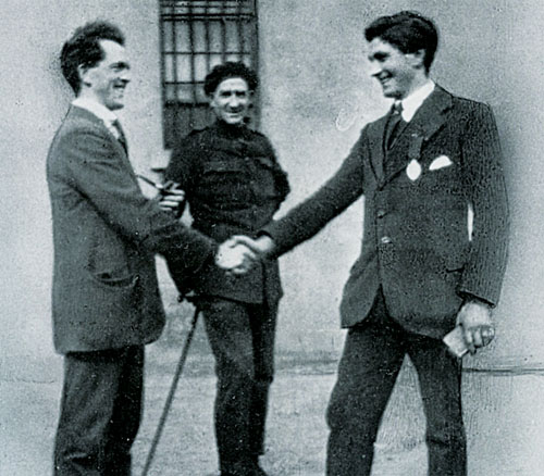 Band of brothers: The prison guard watching seems bewildered at the calmness and smiles of the two men Paddy Moran (Left) and Tommy Whelan waiting their execution.