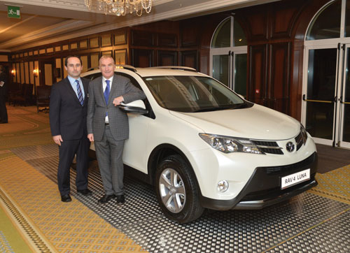 Charlie Donnellan, Toyota sales manager at Tony Burke Motors and Tony Burke, managing director of Tony Burke Motors, with the new Toyota Rav4 to be launched today.