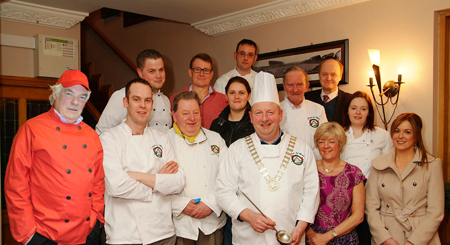 At the launch of Can't Cook, Won't Cook in the Welcome Inn Hotel, Castlebar by the Chefs of Mayo Club in support of Western Care Association local services are front: Oliver Kelleher, president, Castlebar Chamber; Barry Ralph, Bay Leaf; Frank Lyons, Knock House Hotel; Cllr Brendan Henaghan, Mayor of Castlebar; Nado Neary and Phil Mahon, Western Care, Lower Lakelands, Manulla. Back: Craig Naughton, Bar One; Seamus O'Doherty, Aramark, Baxter, chairman, Chefs of Mayo; Paula Lenehan, Western Care, Lower Lakelands, Manulla; Pat McTigue, Dalton Inn; Ray O'Neill, Chefs of Mayo; Joe McHugh, Food Flow Advisors; and Stephanie McLaughlin, Bay Leaf. Photo: John Moylette.