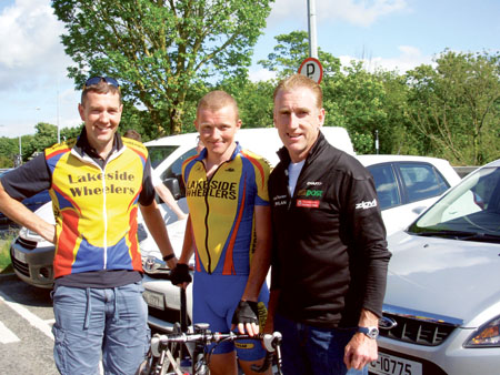Shay O'Toole, Damien Shaw, and Sean Kelly at the 2012 National Cycling Championships in Clonmel. Part-time firefighter Shaw (28) placed eighth in the 2011 Nationals, but was a little preoccupied last year winning won a bronze medal in the London Paralympics as sighted pilot for James Brown in the 1,000m tandem pursuit.