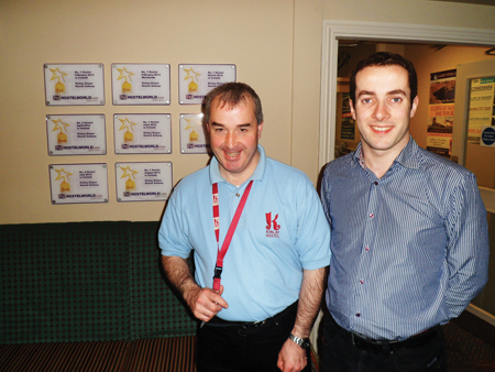 Dermot Hyland (left) who has found fulfilling employment at Kinlay House with the help of EmployAbility and Frank O'Connell (right), general manager of Kinlay House Hostel.
