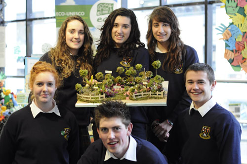 Leanne Claffey, Sadhbh Mondal, Darragh Healy, Emma Johnson, Fergal Hynes, and Megan O'Brien pictured at ECO-UNESCO's Leinster ECO-Den in the Greenhouse in Dublin last week.